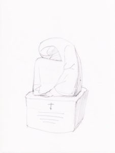 Эскиз надгробия с скорбящей